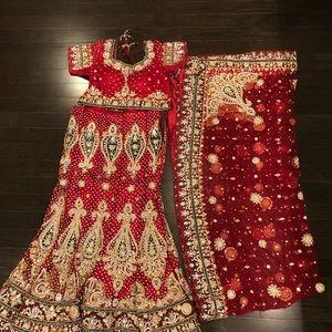 Dresses & Skirts - Red Lehenga (Indian Wedding Dress)